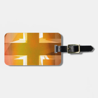 Red and yellow religious cross bag tag