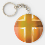 Red and yellow religious cross basic round button keychain