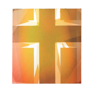 Red and yellow religious cross notepad