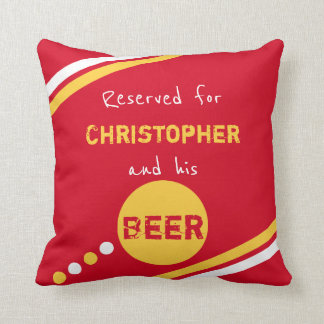 Red and yellow reserved for beer throw pillow