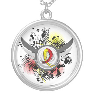 Red And Yellow Ribbon And Wings Hepatitis C Necklaces