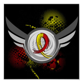 Red And Yellow Ribbon And Wings Hepatitis C Poster
