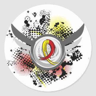 Red And Yellow Ribbon And Wings Hepatitis C Stickers