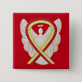 Red and Yellow Ribbon Awareness Angel Pin