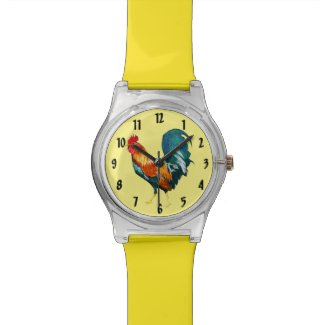 Red and Yellow Rooster Bird Animal Watch