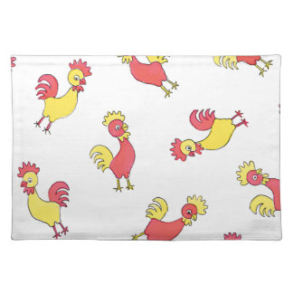 Red and Yellow Roosters Cloth Placemat
