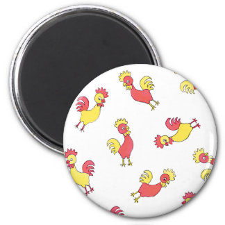 Red and Yellow Roosters Fridge Magnet