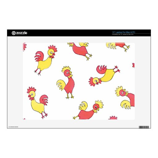 """Red and Yellow Roosters Skins For 13"""" Laptops"""