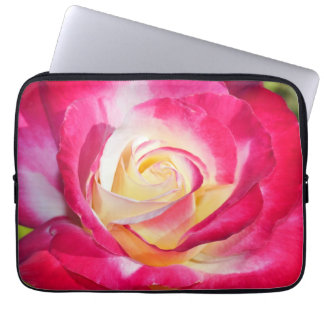 Red and yellow rose print laptop sleeve