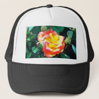 red and yellow rose trucker hat