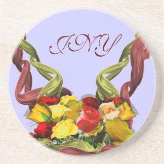 Red and Yellow Roses Custom Monogram Coaster