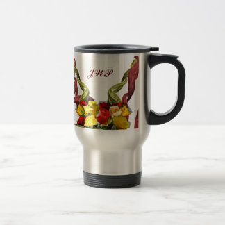 Red and Yellow Roses Custom Monogram Coffee Mug