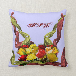 Red and Yellow Roses Custom Monogrammed Pillow