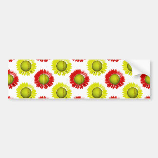 Red and Yellow Softball Flower Pattern Bumper Sticker