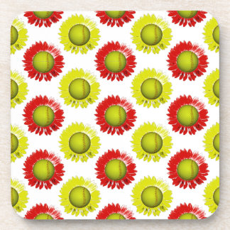 Red and Yellow Softball Flower Pattern Drink Coaster