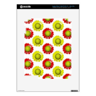 Red and Yellow Softball Flower Pattern iPad 3 Decals