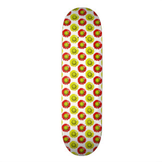 Red and Yellow Softball Flower Pattern Skate Decks