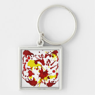 RED AND YELLOW SPLATTER PRINT KEYCHAIN