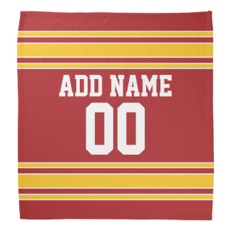Red and Yellow Sports Jersey Custom Name Number Bandana