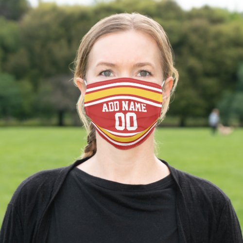 Red and Yellow Sports Jersey Custom Name Number Cloth Face Mask