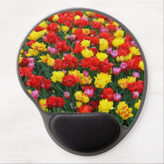 Red and yellow spring tulips gel mousepad