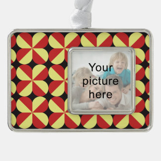 Red and yellow square flowers christmas ornament