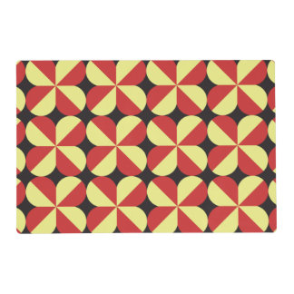 Red and yellow square flowers placemat