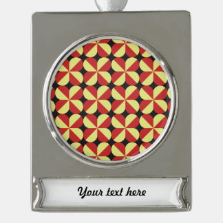 Red and yellow square flowers silver plated banner ornament