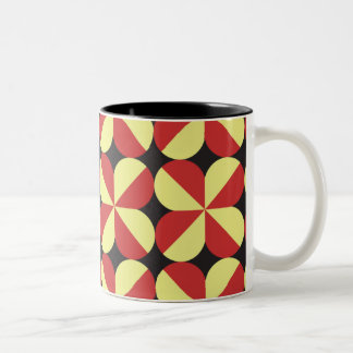 Red and yellow square flowers Two-Tone coffee mug