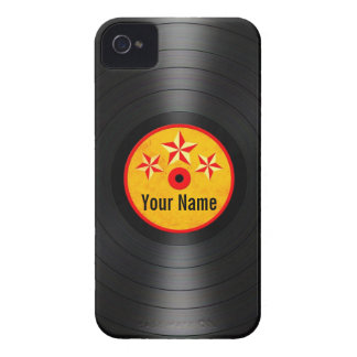Red and Yellow Stars Personalized Vinyl Record Case-Mate iPhone 4 Cases