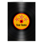 Red and Yellow Stars Personalized Vinyl Record Greeting Card