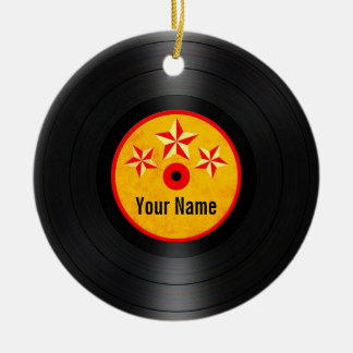 Red and Yellow Stars Personalized Vinyl Record Christmas Ornament