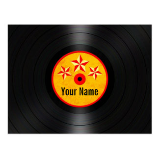 Red and Yellow Stars Personalized Vinyl Record Postcard