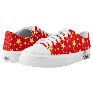 Red and Yellow Stars Printed Shoes