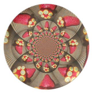 RED AND YELLOW STRAWBERRY VINTAGE Plate