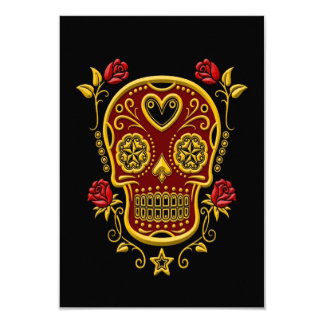 Red and Yellow Sugar Skull with Roses on Black Card