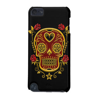 Red and Yellow Sugar Skull with Roses on Black iPod Touch 5G Cases
