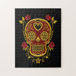 Red and Yellow Sugar Skull with Roses on Black Jigsaw Puzzle