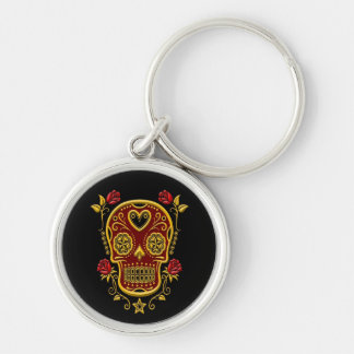 Red and Yellow Sugar Skull with Roses on Black Keychain