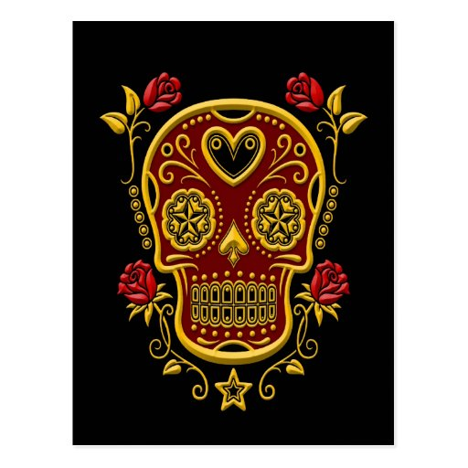 Red and Yellow Sugar Skull with Roses on Black Postcard