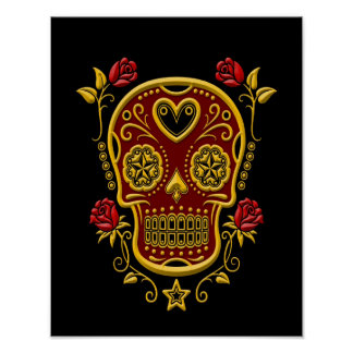 Red and Yellow Sugar Skull with Roses on Black Poster