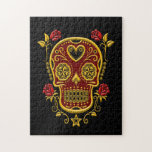 Red and Yellow Sugar Skull with Roses on Black Puzzles