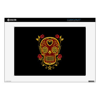 Red and Yellow Sugar Skull with Roses on Black Laptop Decal