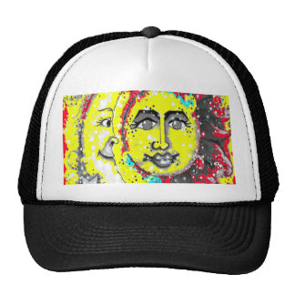 Red and Yellow Sun and Moon Design Mesh Hat