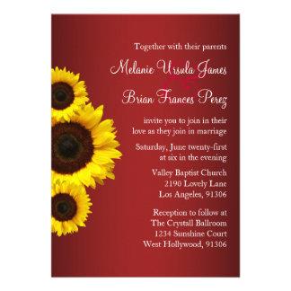 Red and Yellow Sunflower Wedding Invitation