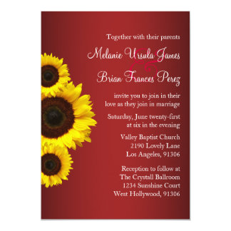 Red and Yellow Sunflower Wedding Invitation
