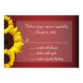 Red and Yellow Sunflower Wedding RSVP Card