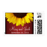 Red and Yellow Sunflower Wedding Stamp