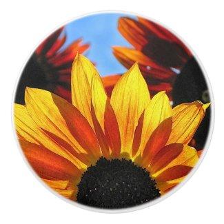 Red and Yellow Sunflowers Ceramic Knob