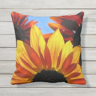 Red and Yellow Sunflowers Floral Outdoor Pillow